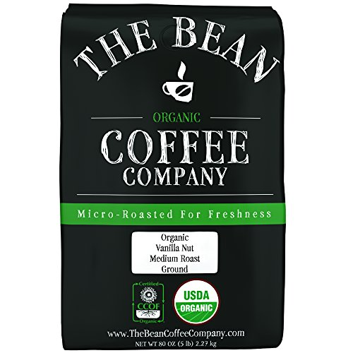 The Bean Coffee Company Organic Vanilla Nut, Medium Roast, Ground, 5-Pound Bag