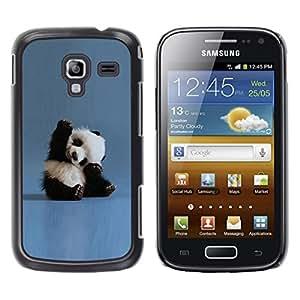 TopCaseStore / la caja del caucho duro de la cubierta de protección de la piel - Tiny Baby Panda Quote Blue China Animal - Samsung Galaxy Ace 2 I8160 Ace II X S7560M