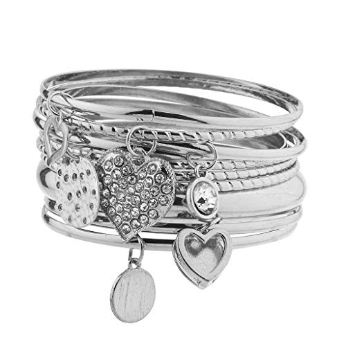 (Lux Accessories Silver Tone Charm Heart Disc Crystal Rhinestone Bangle Set)
