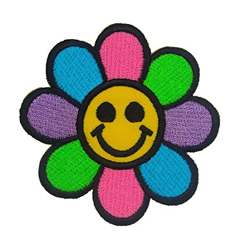 Happy Face Daisy Flower Iron on Patches