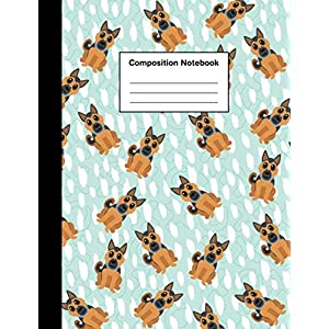 Composition Notebook: Wide Ruled Cute German Shepherd Puppy   Journal for Boys & Girls Teens, Kids Students for Home, School or College 110 Pages 3