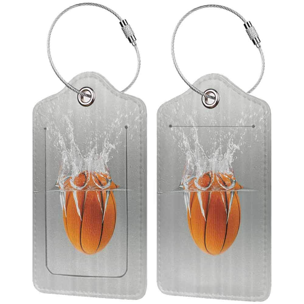 Multicolor luggage tag Sports Decor Collection Falling Basketball Into Water Leisure National Sport Activity Entertaining Image Hanging on the suitcase Orange Gray W2.7 x L4.6