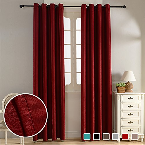 ... Thermal Insulated Solid Window Treatments Velvet 80% Blackout Curtain  Panels Grommets Top For Living Room 52 X 84 Inch Length Set Of 2 Panels  Burgundy Part 96