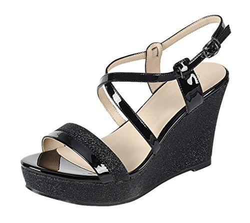 Cambridge Select Women's Open Toe Crisscross Ankle Strappy Mixed Media Glitter Platform Wedge Sandal (8 B(M) US, Black) ()