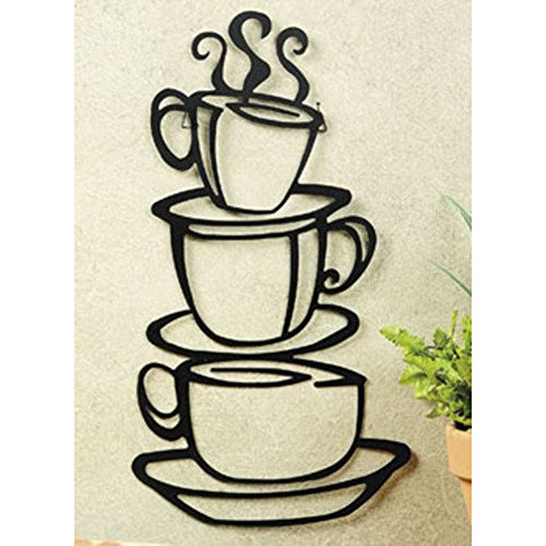Black Coffee Cup Silhouette Metal Wall Art for Home Decoration, Java Shops, Restaurants, Gifts (Decor Breakfast Room Wall)