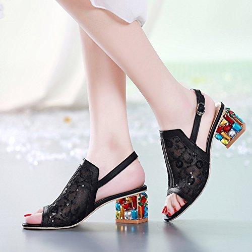 Schuhe KHSKX black Mund Mesh Weiblich Dicken Diamant Mit Koreanische Mit Frauen Mit Mode Schuhe Sandalen Fisch Allen qqra5wY