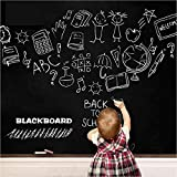 "Pasiyou Self Adhesive Chalkboard Contact Paper Black 17.7"" X 78.7"" Chalk Paper Dry Erase Wallpaper Decal Chalkboard Sticker with White Chalk Marker & 5 Chalks for Home Office School"