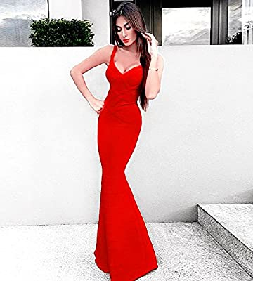 Hego Women's V-neck Backless Fishtail Bandage Red Formal Maxi Dress Long H2082