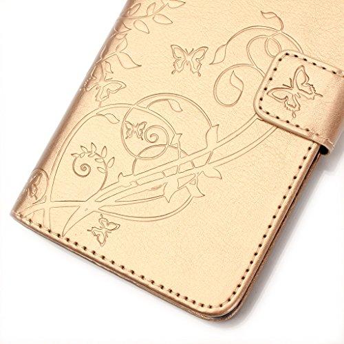 Uming® Embossed gaufrage Papillon Fleur Bloom spéciales Séries Motif Colorful Imprimer cas PU Holster Case Etui ( Gold - pour IPhone6SPlus IPhone 6SPlus 6Plus IPhone6Plus ) Artificial-cuir flip avec s