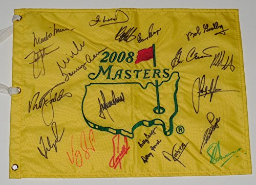 2008 Masters Golf Flag Signed By 21 Champions - Watson, Player, Faldo, Couples, etc.