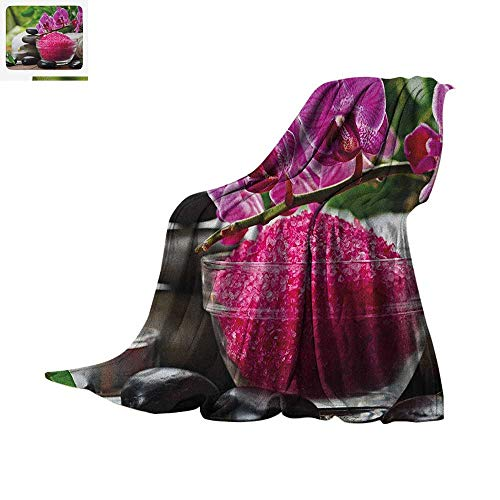 Spa Digital Printing Blanket Black Zen Stone Triplets with Asian Originated Orchids and Fuchsia Salt Oversized Travel Throw Cover Blanket 50