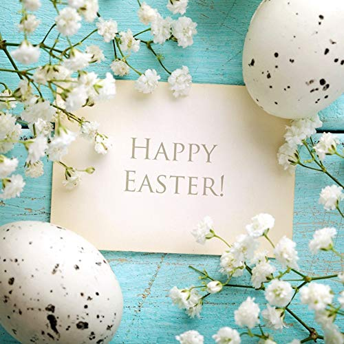 Baocicco 5x5ft Vinyl Backdrop Photography Background Happy Easter White Flowers Eggs Color Painted Wood Floor Kraft Paper Spring Photo Background Children Kids Adults Portrait Studio -