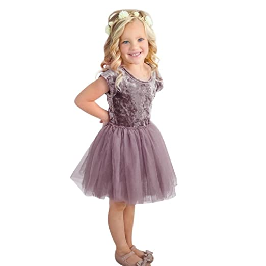 48added64a3 Wesracia Summer Toddler Infant Baby Girls Dress Gold Velvet Solid Tutu  Tulle Dresses Outfits Clothes (