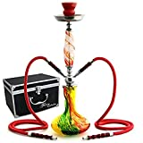 GSTAR 22'' 2 Hose Hookah Complete Set with Optional Carrying Case - Swirl Art Glass Vase - (Rasta Red w/ Case)