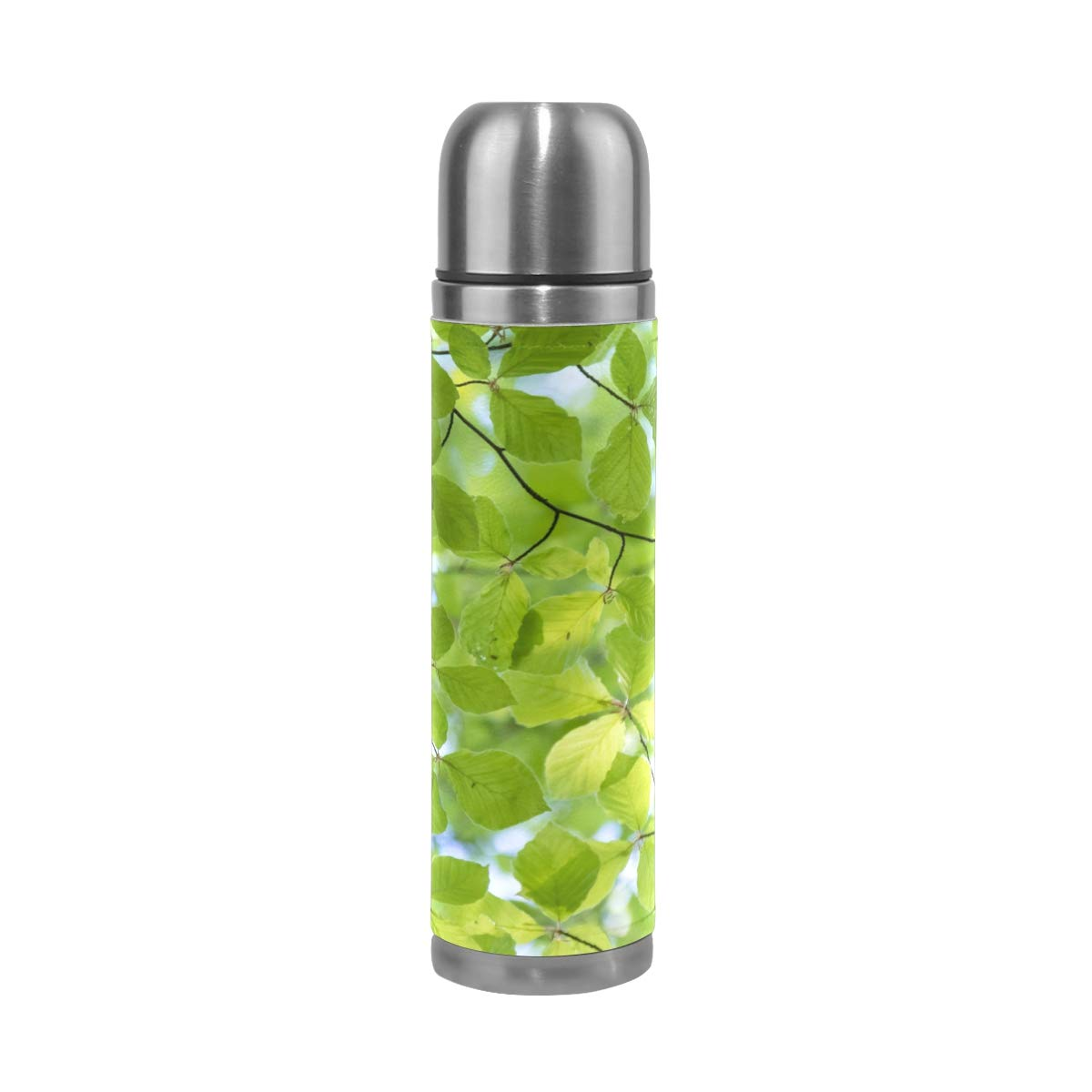 Green Forest Leaf Spring Woods Pattern 500ML Stainless Steel Double Walled vacuum insulated water bottle Travel Mug Leather Cover Thermos 17 oz