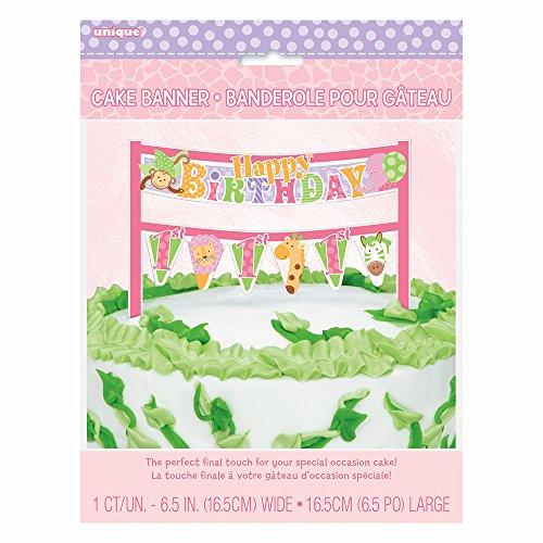 Pink Safari First Birthday Cake Bunting (Safari First Birthday)