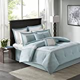 All Season Stratford 8-Piece Embroidered Comforter Set King Aqua includes Comforter-bedskirt-2 shams-2 Euro Shams-2 Decorative Pillows