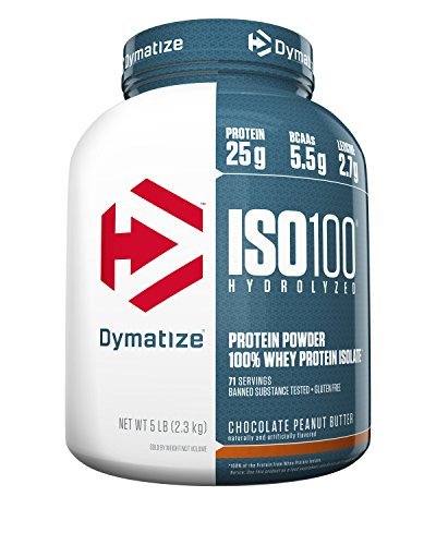 - Dymatize ISO 100 Whey Protein Powder with 25g of Hydrolyzed 100% Whey Isolate, Gluten Free, Fast Digesting, Chocolate Peanut Butter, 5 Pound