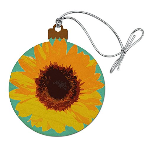 GRAPHICS & MORE Sunflower Drawing on Blue Background Wood Christmas Tree Holiday Ornament