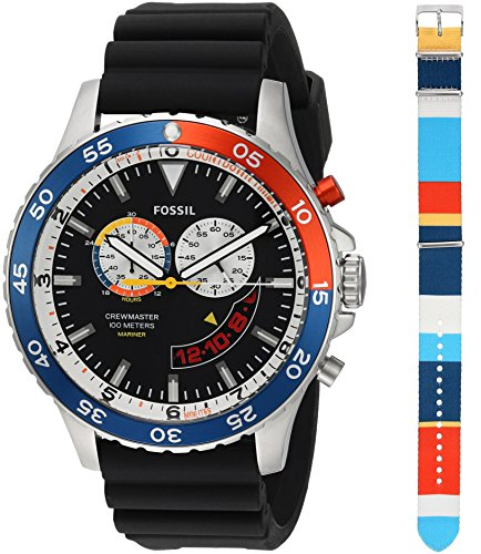 Fossil-Mens-LE1046-Special-Edition-Crewmaster-Mariner-Chronograph-Black-Silicone-Watch
