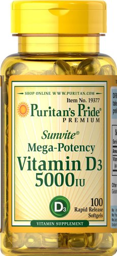 Puritan's Pride 2 Pack of Vitamin D3 5000 IU Puritan's Pride Vitamin D3 5000 IU-100 Softgels Review