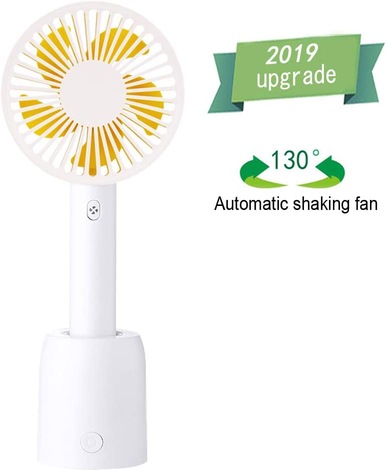Handheld Personal Fan,130 Rotation Portable Table Fan with USB Rechargeable,3 Adjustable Speeds, Strong Wind,for Travel,Camping and Outdoor Activities,White
