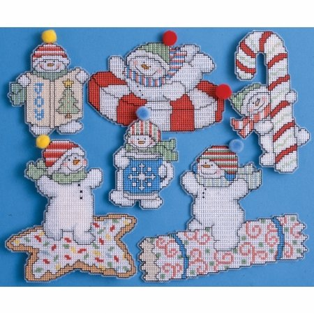 Sweetie Snowman Ornaments Counted Cross Stitch Kit-2 To 5 14 Count Set Of 6