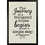 ProFrames Lao Tzu The Journey Of A Thousand Miles Begins With A Single Step Motivational Tan Framed Poster 12x18