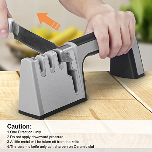 Knife Sharpener,4 in 1 Knife & Scissor Sharpener, 4-Stage Kitchen Knife Sharpener Tool, Sharpens Dull Knives Quickly,Suit for Various Knives,Best Choice for Chef & Family by Fujiway (Image #5)