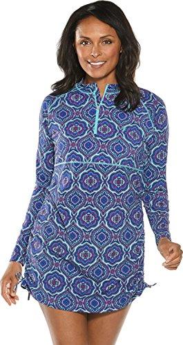 Coolibar UPF 50+ Women's Ruche Swim Shirt - Sun Protective (Small- Tropical Mint Beach Medallion) (Medallion Stretch)