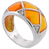 Sterling Silver Golden Yellow Resin Dome Ring with Cubic Zirconia Stones, size 8