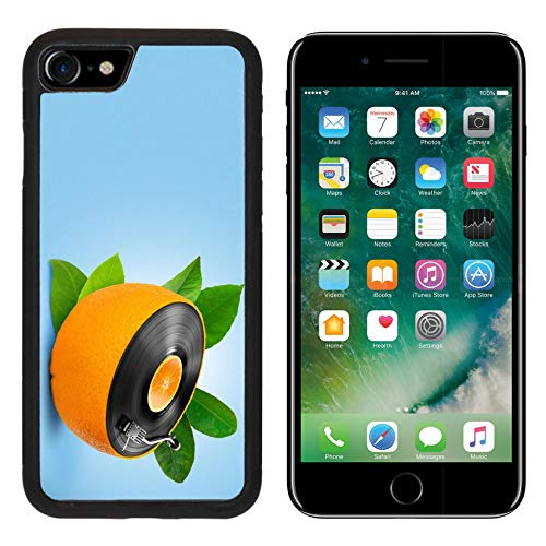 Luxlady Apple iPhone 8 Case Aluminum Backplate Bumper Snap iPhone8 Cases Image ID: 23911081 Musical Background with a Vinyl disc and Orange
