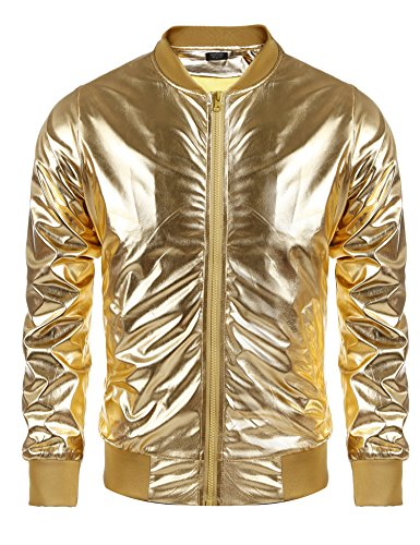 Coofandy Men's Metallic Style Baseball Varsity Bomber Jacket For Party,Nightclub,Halloween,Golden,Large ()