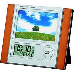ADESSO ( Adesso ) with radio digital alarm clock photo frame temperature display Brown C-8297