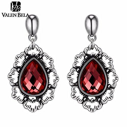 Slyq Jewelry Black Tin Alloy Tibetan Crystal Dangle Drop Brand Earring ED2235 (Tin Man Nose)