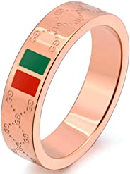 Trozk Fashion Luxury Shine Celebrity Ring Classic Red and Green Bar Titanium Steel Ring