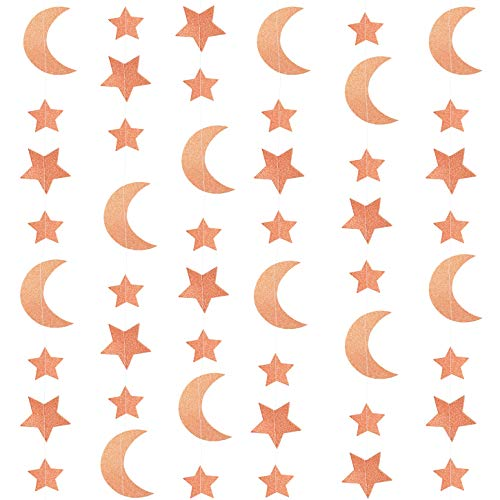 Rose Gold Glitter Twinkle Stars Crescent Paper Garlands Hanging Banners Decorations Wedding Engagement Bachelorette Bridal Shower Baby Shower Birthday Nursery Party Decorations, 24ft ()