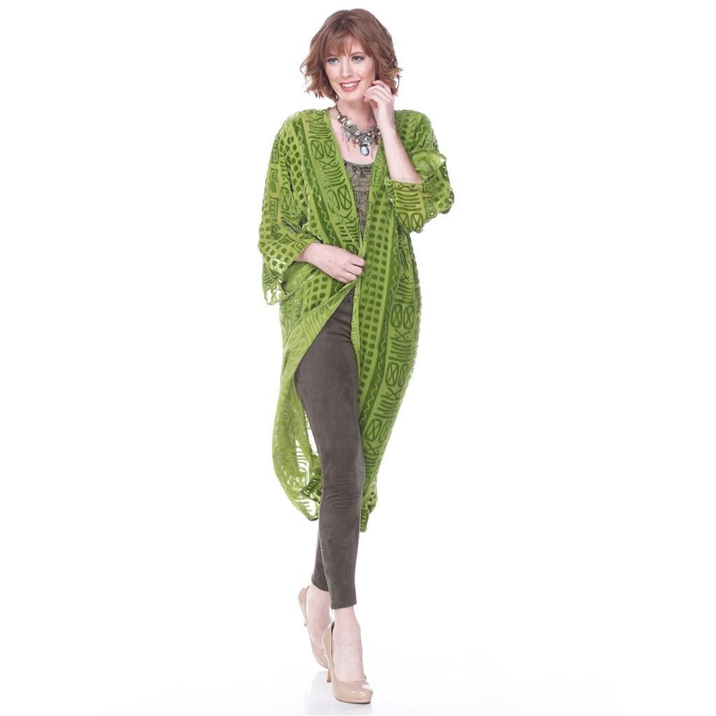 d9aa44edfed2b Amazon.com  Aris A Women Silk Velvet Ancient Font Print Duster Kimono   Clothing