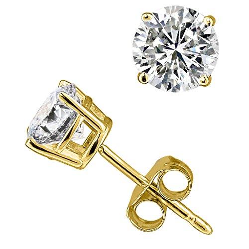 ss Round Diamond stud 14K Yellow Gold (0.04 ctw, Color-HIJ, Clarity-I3-I4) ()