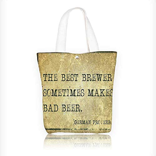 (Stylish Canvas Zippered Tote Bag German Proverb Words of Wisdom Brewer Beer Philosophy Light Brown Army Green Shopping Travel Tote Bag W11xH11xD3)