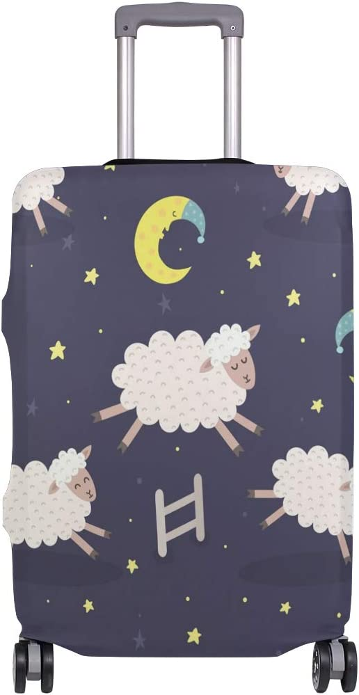 FOLPPLY Cute Animal Sheep With Moon Night Luggage Cover Baggage Suitcase Travel Protector Fit for 18-32 Inch