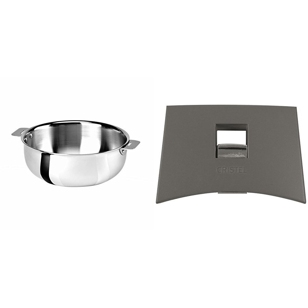 Cristel SR22QMP Saucier, Silver, 3 quart with Cristel Mutine Plmag Side Handle, Grey