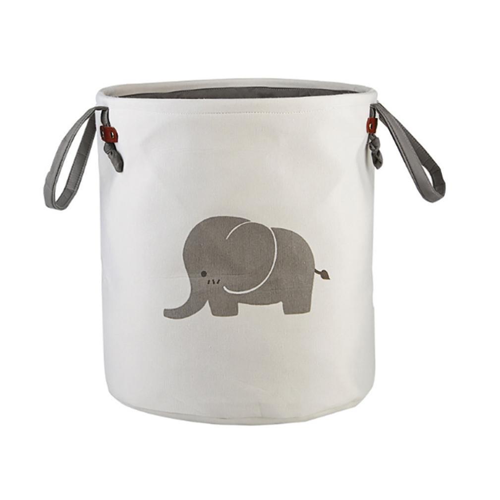 YJYdada Animal Canvas Sheets Toy Storage Bag Laundry Clothes Basket Folding Storage Box (A)