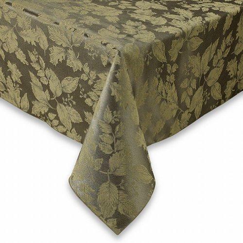 Green Fabric Harvest (BB&B Autumn Harvest Green Damask Fabric Tablecloth Table Cloth 60x104 Ob)