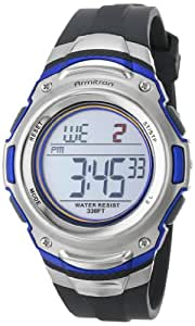 Armitron Sport Men's 408108BLU Silver-Tone Stainless-Steel and Blue Digital Chronograph Watch