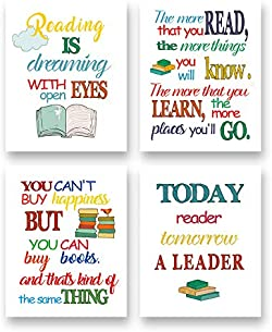 related image of Colorful Reading Inspirational Quote Art Print-Book