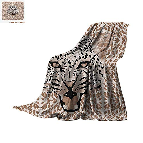 - Modern Custom Design Cozy Flannel Blanket Roaring Leopard Portrait with Rosettes Wild African Animal Big Cat Graphic Digital Printing Blanket 62