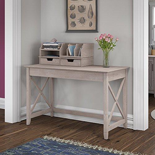 Bush Furniture KWS005WG Key West 48W Writing Desk with Desktop Organizers, Washed Gray by Bush Furniture