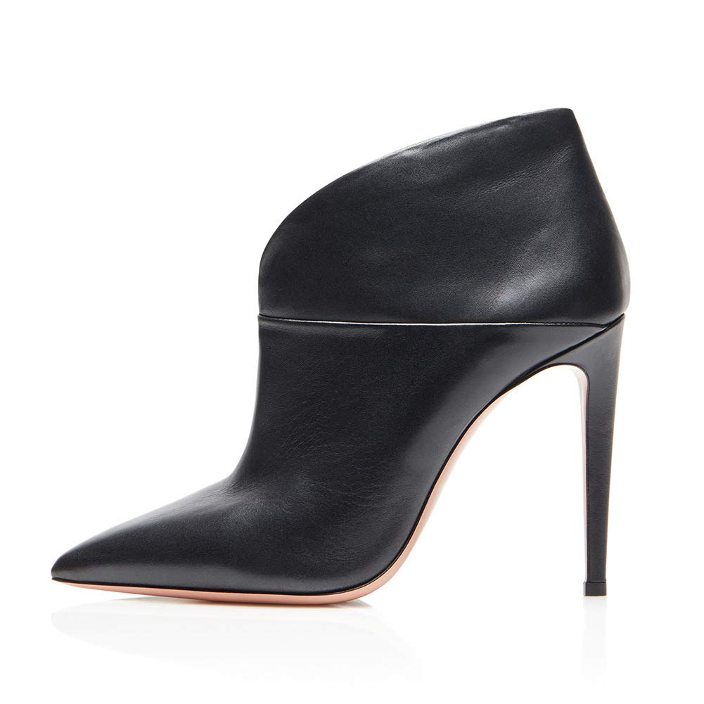 LYY.YY Frauen Spitze PU Ein Fuß Stiefeletten Rutschfest Atmungsaktiv Schlanker High Heel Stiefelies Pendelndes OL Büro Stiefelies (Absatzhöhe  15Cm)
