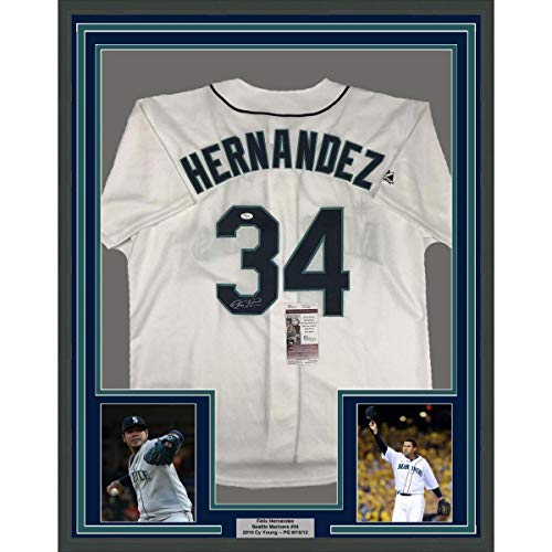 Hernandez Autographed Jersey - Autographed Felix Hernandez Jersey - FRAMED 33x42 White COA - JSA Certified - Autographed MLB Jerseys